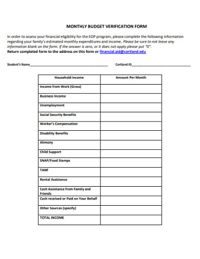 monthly budget verification form