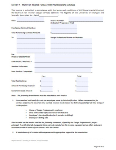 monthly invoice format for professional services