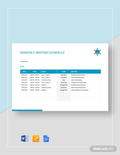 monthly meeting schedule template