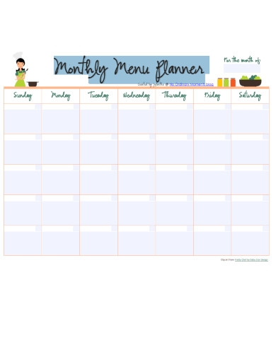 monthly menu planner