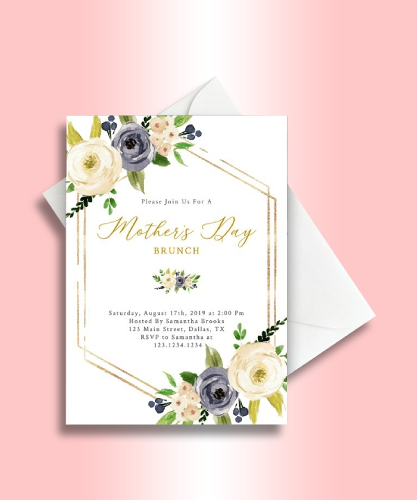 mothers day brunch geometric invitation
