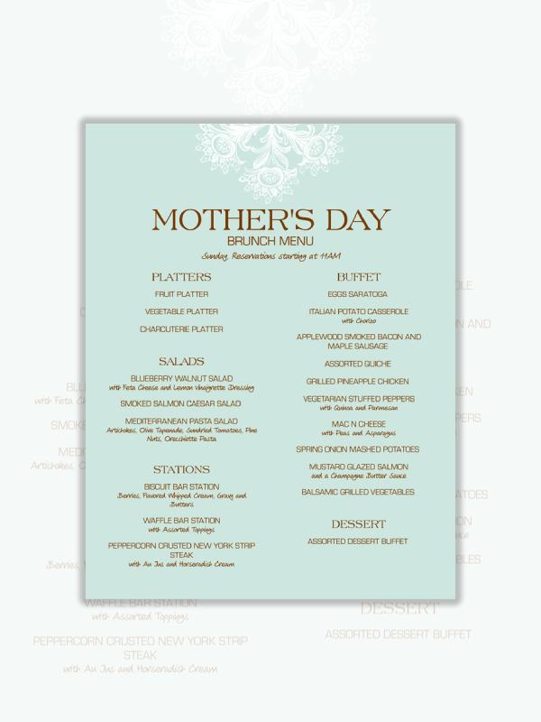 mothers day brunch menu