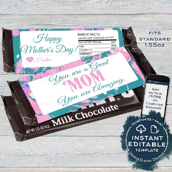 mothers day candy bar gift label