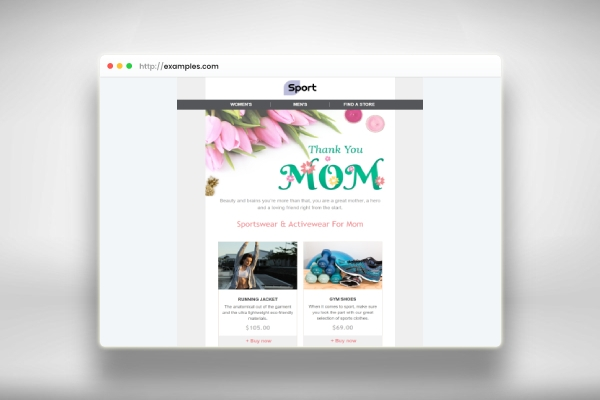 mothers day email marketing for comfortable clothing