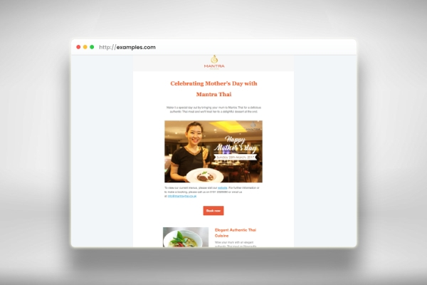mothers day email marketing for restaurant