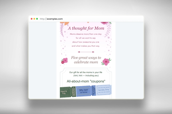 mothers day store promotions email