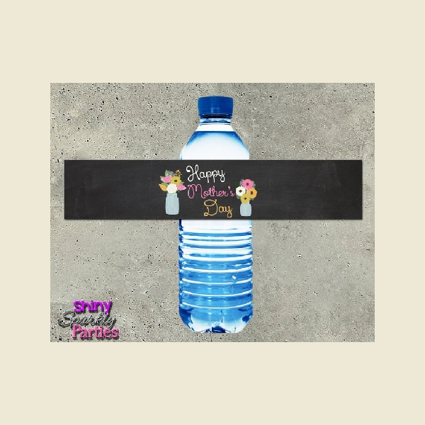 mothers day water bottle label