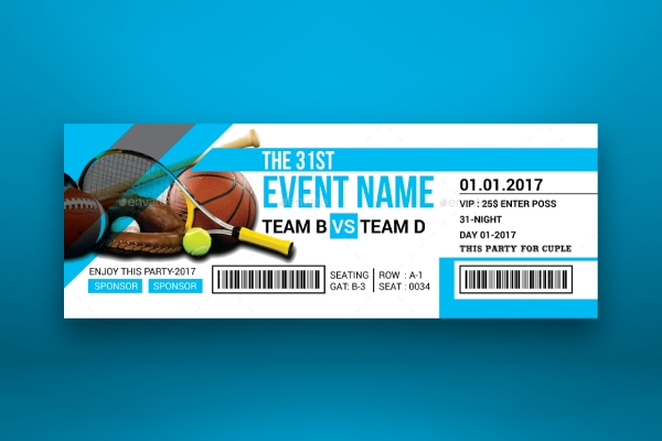 multipurpose sporting event ticket