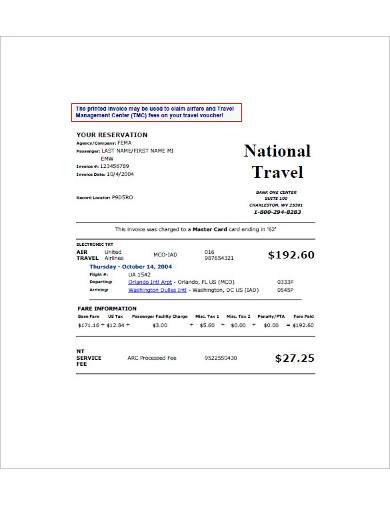 national travel invoice