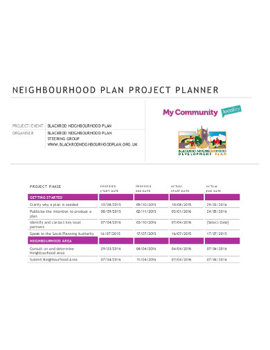 neighbourhood plan project planner