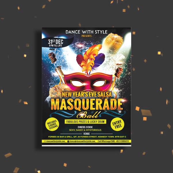 new years eve salsa masquerade ball invitation