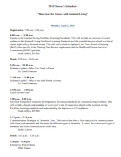 nursing schedule