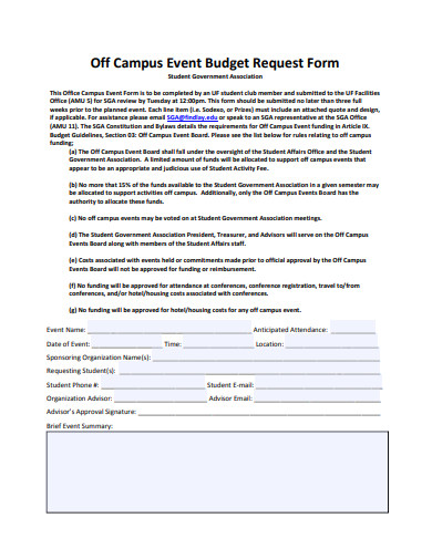 off campus event budget request form