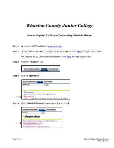 online classes schedule planner