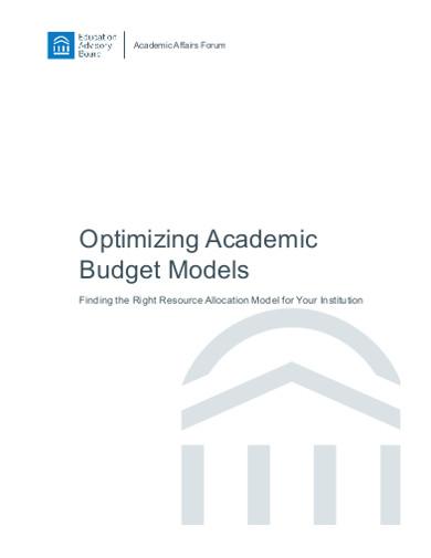 optimizing academic budget models