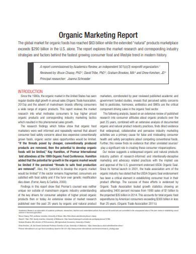 organic marketing report