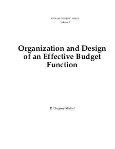 organization and design budget