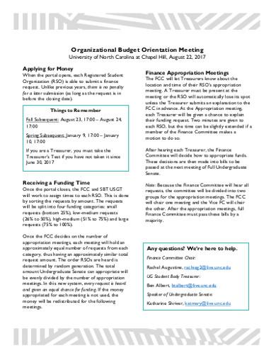 organizational budget orientation meeting