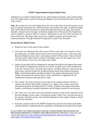 organizational change budget forms