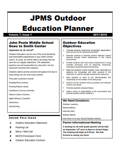 outdoor education planner