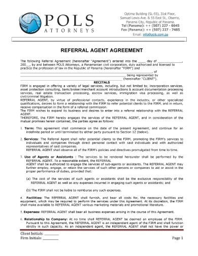 pos referral agent agreement
