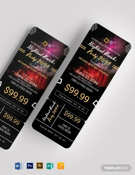 party admission ticket template