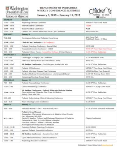 pediatrics weekly conference schedule