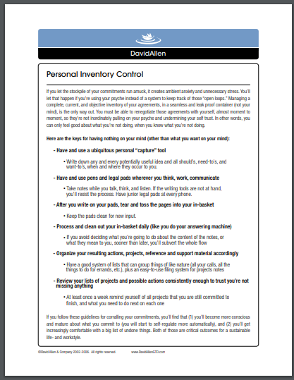 personal inventory control