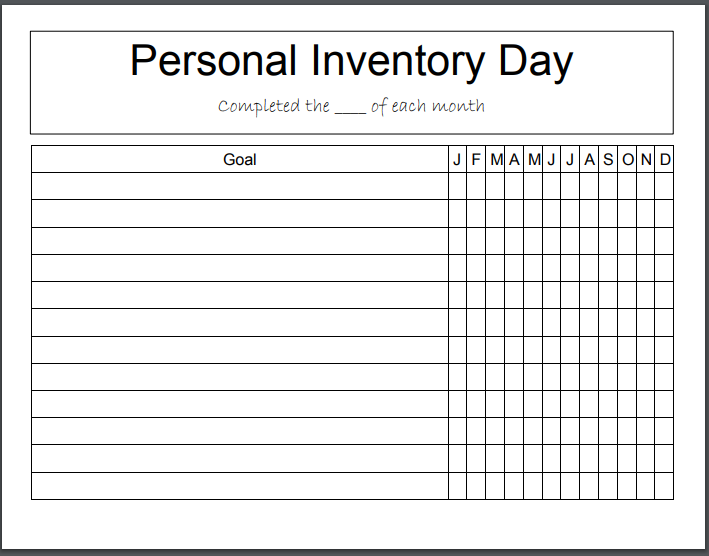 personal inventory for goals