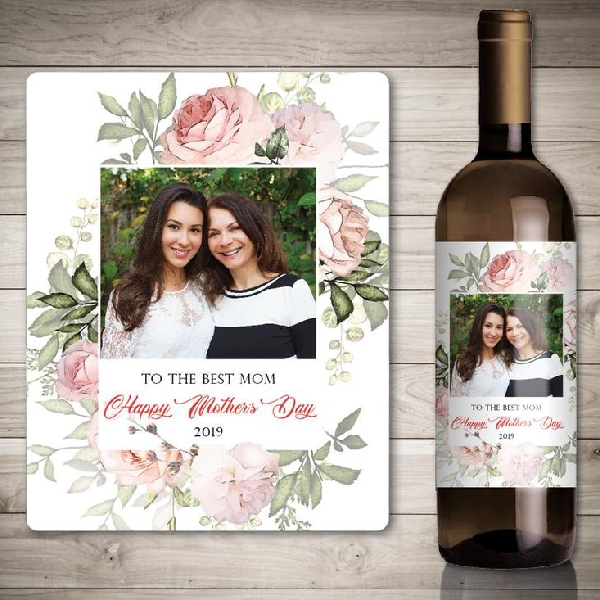 photo mothers day wine label
