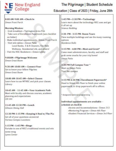 pilgrimage sample student schedule