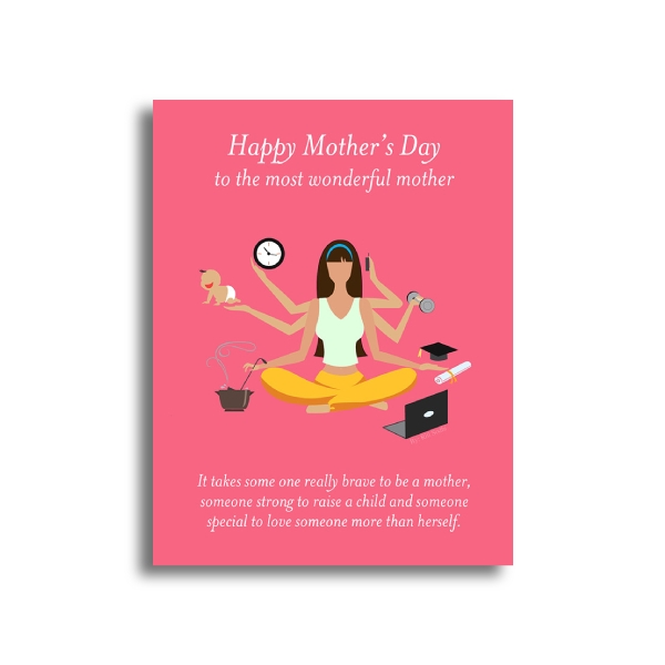 pink mothers day greeting card