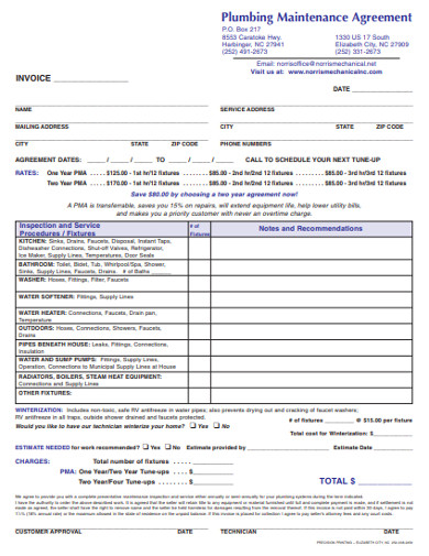 plumbing maintenance invoice