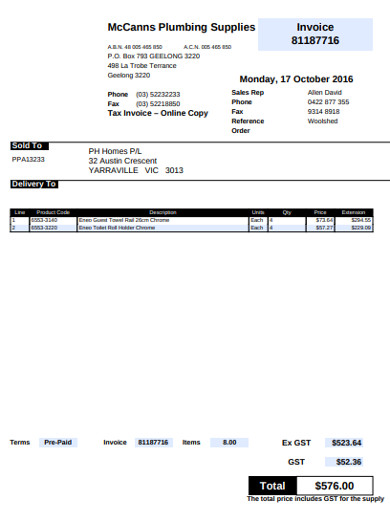 plumbing supplies invoice