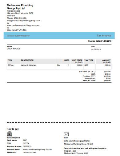 plumbing tax invoice
