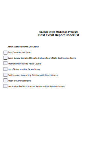 post event report checklist