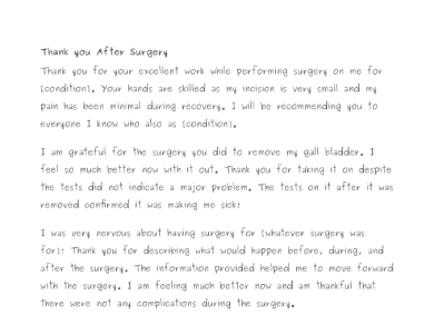 postoperative patient thank you note