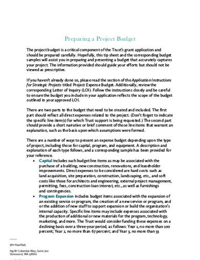 preparing a project budget