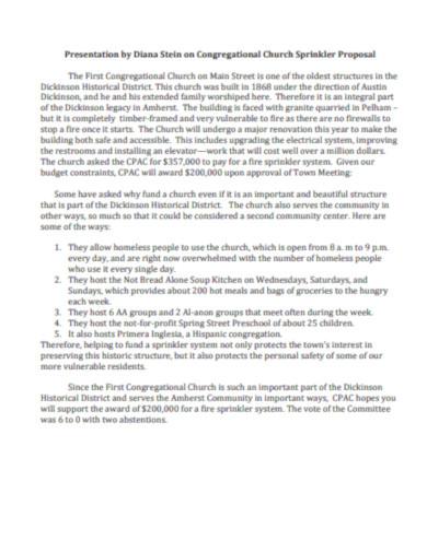 presentation on congregational church sprinkler proposal