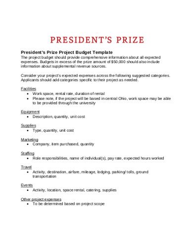 president's prize project budget template