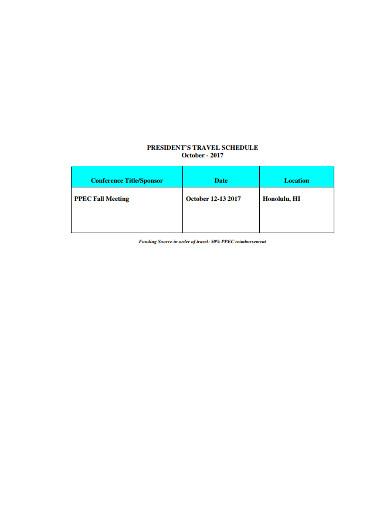 president travel request schedule