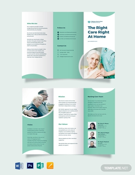 printable home care tri fold brochure template