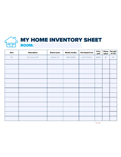 printable home inventory sheet