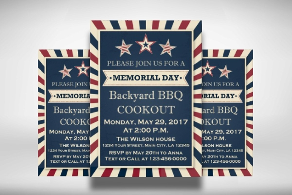 printable memorial day invitation