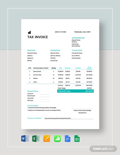 printable tax invoice template