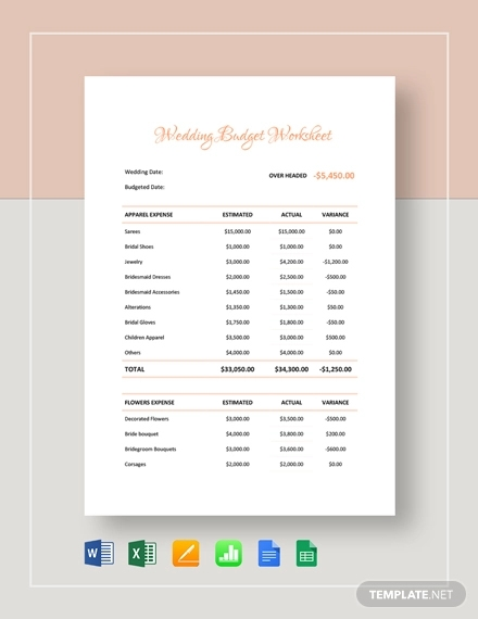 graphic regarding Wedding Budget Printable known as 12+ Perfect Wedding day Spending plan Illustrations Templates [Obtain At the moment