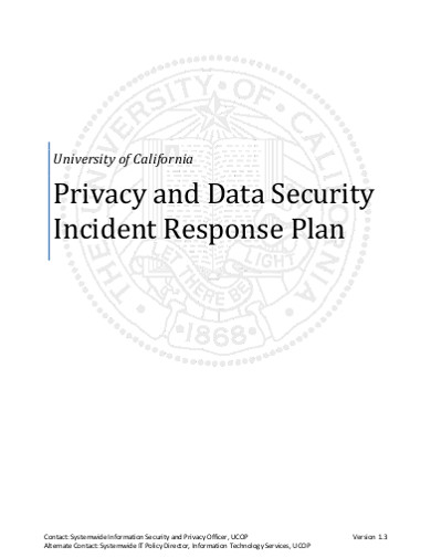privacy and data security incident response plan
