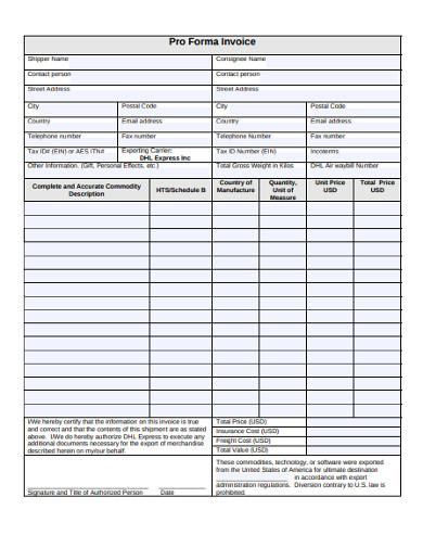 pro forma invoice in pdf