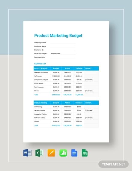 product marketing budget template