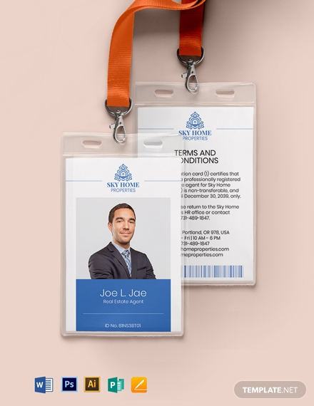 professional real estate id card template